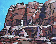 Shadows Paintings - Rock Face by Sandy Tracey