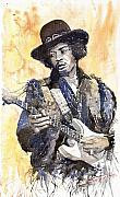Music Paintings - Rock Jimi Hendrix 01 by Yuriy  Shevchuk