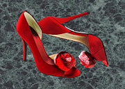 Stilettos Paintings - Rock Me Red Pom Poms by Elaine Plesser