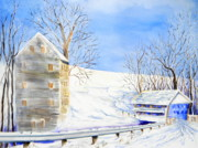 Snow Scene Paintings - Rock Mill in Winter by Lisa Schorr