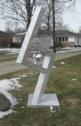 Aluminum Outdoor Sculpture Sculptures - Rock My World by Dawn  Johnson