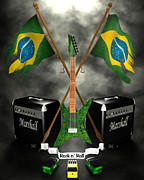 Rock N Roll Digital Art - Rock N Roll crest - Brazil by Frederico Borges