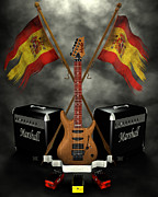 Frederico Borges Digital Art Prints - Rock n Roll crest- Spain Print by Frederico Borges