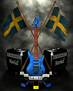 Frederico Borges Digital Art Prints - Rock n Roll crest- Sweden Print by Frederico Borges