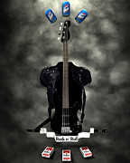 Frederico Borges Digital Art Prints - Rock N Roll crest-The bassist Print by Frederico Borges