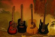 Linda-sannuti Art Prints - Rock n Roll Guitars Print by Linda Sannuti