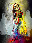 Skeletons Drawings - Rock n Roll The Bones by Miki De Goodaboom