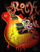 Rock N Roll Mixed Media Posters - Rock-N-Roll Till Ya Bleed Poster by Kevin Caudill