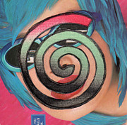 Spirals Mixed Media Posters - Rock N Roll Woman Poster by Christine Perry