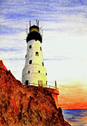 Lighthouse Art Paintings - Rock Of Ages Lighthouse by Michael Vigliotti