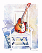 Guitar Painting Framed Prints - Rock On Framed Print by Andrew King
