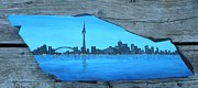Highrise Painting Posters - Rock painting-toronto cn tower skyline Poster by Monika Dickson