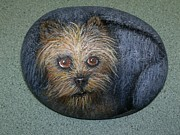 Cute Sculpture Prints - Rock Painting-Yorkie Print by Monika Dickson
