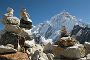 Mt Everest Base Camp Prints - Rock Piles In The Himalayas Print by Shanna Baker