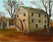 Historic Architecture Paintings - Rock Run Mill on the Susquehanna by Robin Capecci