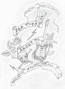 Lightening Drawings Prints - Rock Salute Print by Snowbug Studio