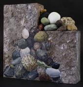River Rock Sculpture Posters - Rock Slide Poster by Taunya Bruns