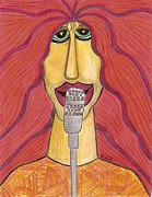 Lead Singer Drawings - Rock Star by Ray Ratzlaff