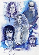 Led Zeppelin Drawings - Rock Stars by Zuzana Gyarfasova