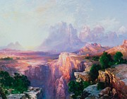 Purples Paintings - Rock Towers of the Rio Virgin by Thomas Moran