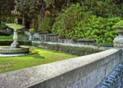 Garden Flowers Photo Originals - Rock Wall And Fountain by Lawrence Christopher