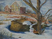 Snowy Trees Paintings - Rock Wall in Winter by Barbara McGeachen