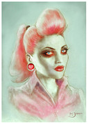 Pink Ears Prints - Rockabilly Zombie Pinup Art Print by Screaming Demons