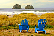 Blue Chairs Prints - Rockaway Beach Oregon Print by Margaret Hood