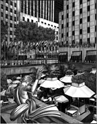 Graphite Framed Prints - Rockefeller Center Framed Print by Jerry Winick