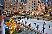 Skaters Prints - Rockefeller Center Skaters Print by June Marie Sobrito