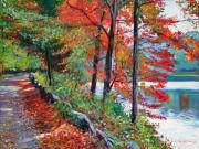 Fall Color Painting Posters - Rockefeller Park Poster by David Lloyd Glover