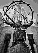 Rockefeller Plaza Framed Prints - Rockefeller Plaza BW8 Framed Print by Scott Kelley