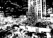 Skating Digital Art Posters - Rockefeller Tree BW3 Poster by Scott Kelley