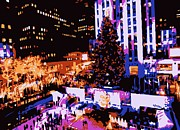 Rockefeller Plaza Framed Prints - Rockefeller Tree Color 6 Framed Print by Scott Kelley