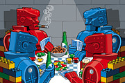 Toys Prints - Rockem Sockem poker night Print by Ron Magnes