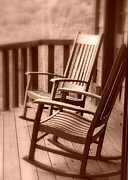 Rocking Chairs Photos - Rockers Sepia by Cindy Wright