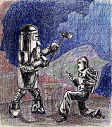 Serial Drawings Prints - Rocket Man and Robot Print by Mel Thompson