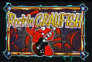 Sam Sheats Framed Prints - Rockin Crawfish Sign Framed Print by Samuel Sheats