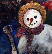 Rock N Roll Mixed Media Originals - Rockin Eskimo Snowman by Denice Rinks
