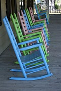 Rocking Chairs Posters - Rocking at the Beach Poster by Paulette  Thomas