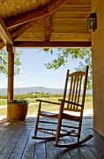 Back Porch Framed Prints - Rocking Chair At Ranch House Porch Framed Print by Nicolas Russell