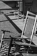 Shadows And Light Framed Prints - Rocking Chair Porch in black and white Framed Print by Suzanne Gaff