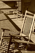 Rocking Chairs Posters - Rocking Chair Porch in sepia Poster by Suzanne Gaff