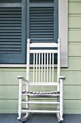 White Frame House Framed Prints - Rocking Chair Framed Print by Ray Laskowitz