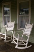 Curtains Posters - Rocking Chairs On The Porch Poster by Todd Gipstein