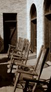 Rocking Chairs Metal Prints - Rocking to Relax Metal Print by Karen Musick