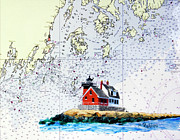 Lighthouse Painting Originals - Rockland Breakwater Light by Mike Robles