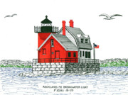 New England Lighthouse Drawings - Rockland Breakwater Lighthouse by Frederic Kohli