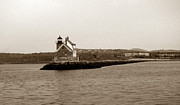 Maine Lighthouses Photo Posters - Rockland Breakwater Lighthouse Poster by Skip Willits