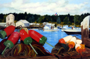 Bouys Paintings - Rockland Harbor by Laura Tasheiko